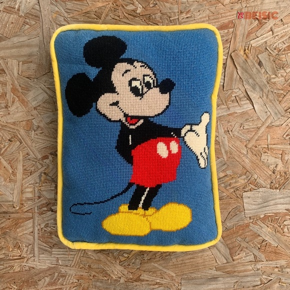 Vintage 70s Disney Mickey Mouse CrossStitch Embroidery Needlepoint Pillow